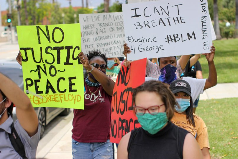 People demonstrate for racism to be deemed a public health crisis in San Bernardino County, California, June 2, 2020. Photo courtesy of Inland Congregations United for Change