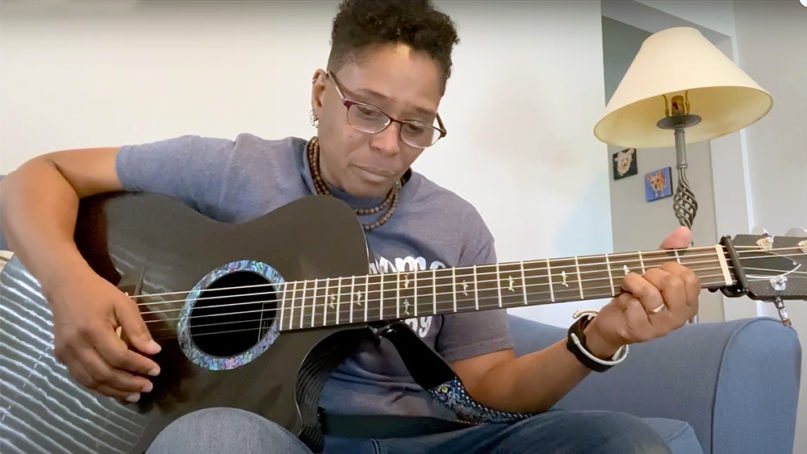 Rabbi Sandra Lawson plays the Mourner's Kaddish on May 29, 2020, on her YouTube channel.  Lawson wrote the kaddish years ago to honor unarmed people who have been killed by police. Video screengrab