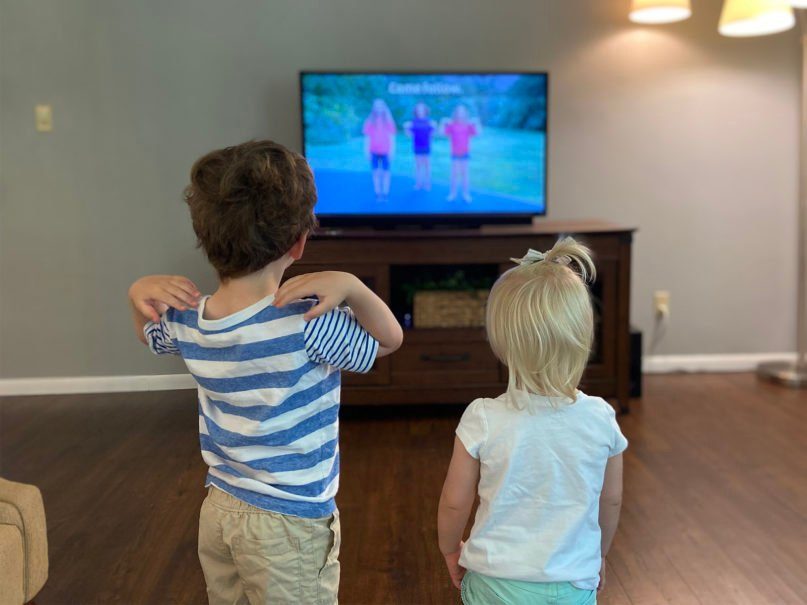 Siblings Carson Rodriguez, 3, left, and Madison, 2, participate in Immanuel Lutheran Church's virtual Vacation Bible School from their home in Merrill, Wisconsin. Photo courtesy of Kyla Rodriguez