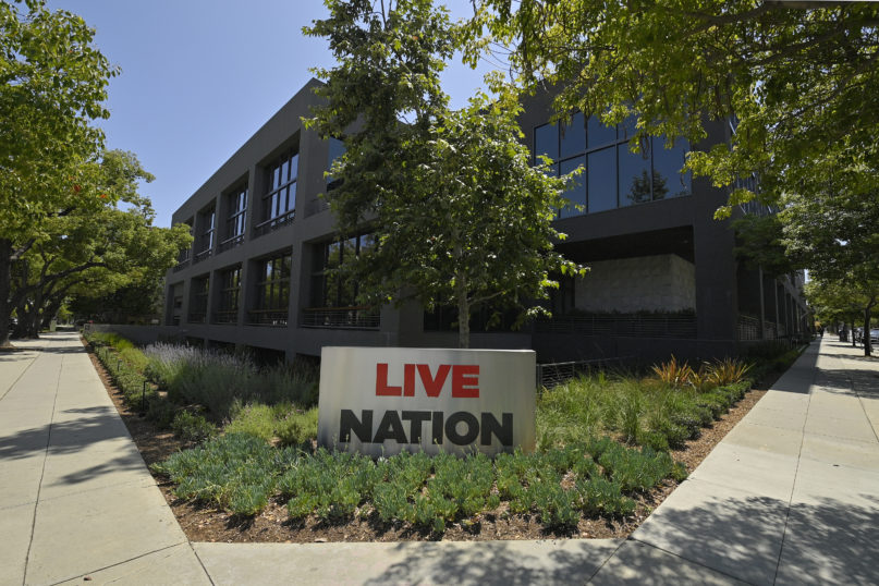 """The headquarters of Live Nation is viewed June 29, 2020, in Beverly Hills, California. America's nightclubs are largely closed because of the coronavirus pandemic, but that isn't stopping an interfaith coalition from launching a campaign to stop what organizers call the """"disrespectful"""" use of Buddhist and Hindu statues as upscale decor. Representatives of the Buddhist, Hindu, Jain, Jewish and Christian traditions have formed an improbable alliance to end the practice, starting with upmarket clubs in Boston and other cities that are managed by Live Nation, a Beverly Hills, California-based entertainment conglomerate. (AP Photo/Mark J. Terrill)"""