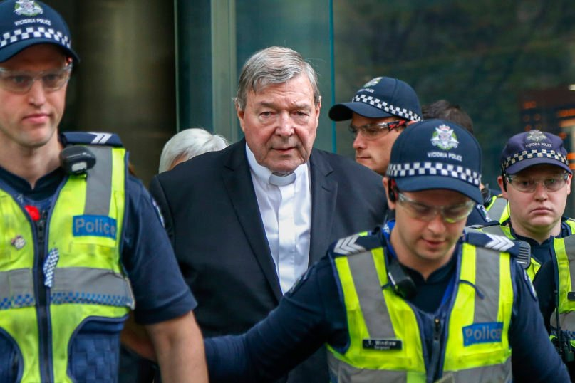 Cardinal George Pell, the most senior Catholic cleric to face sex charges, leaves court in Melbourne, Australia, on May 2, 2018. (AP Photo/Asanka Brendon Ratnayake)