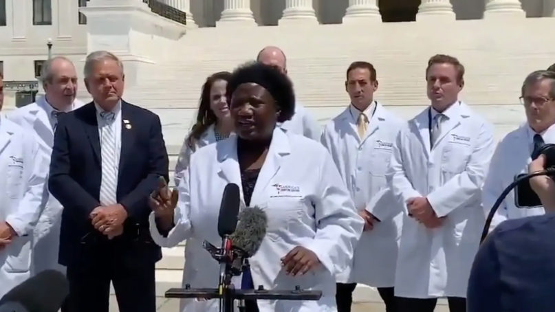 Dr. Stella Immanuel speaks during a July 27, 2020, news conference with members of a group called America's Frontline Doctors in Washington, D.C. Video screengrab