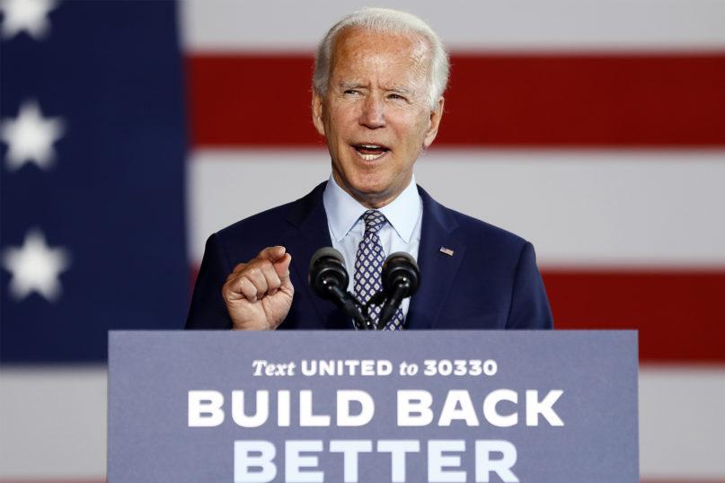 Democratic presidential candidate former Vice President Joe Biden speaks at McGregor Industries in Dunmore, Pennsylvania, on July 9, 2020. (AP Photo/Matt Slocum)