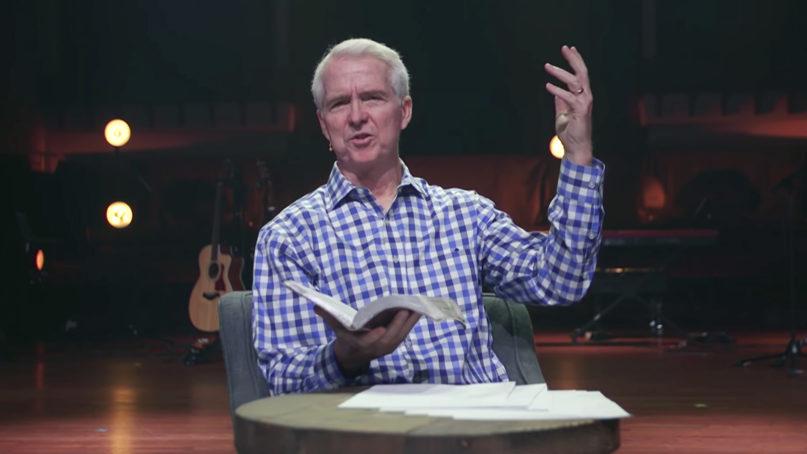 The Rev. John Ortberg preaches at Menlo Church in June 2020. Video screen grab via Menlo Church