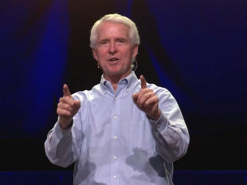 Pastor John Ortberg preaches at Menlo Church in May 2020. Video screengrab via Menlo Church