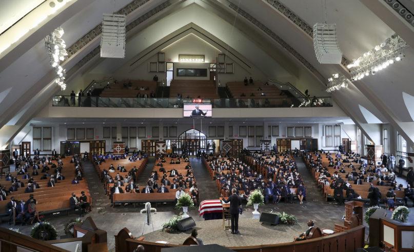 Former President Barack Obama speaks during the funeral for the late Rep. John Lewis, D-Ga., at Ebenezer Baptist Church in Atlanta, Thursday, July 30, 2020. (Alyssa Pointer/Atlanta Journal-Constitution via AP, Pool)