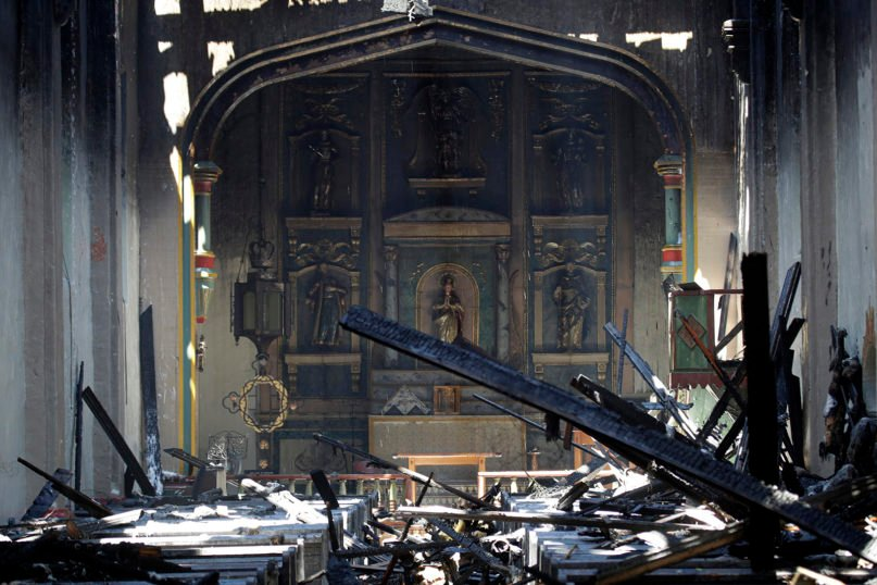 The interior of the San Gabriel Mission is seen in the aftermath of a morning fire, July 11, 2020, in San Gabriel, California. The fire destroyed the rooftop and most of the interior of the 249-year-old church that was undergoing renovation. (AP Photo/Marcio Jose Sanchez)