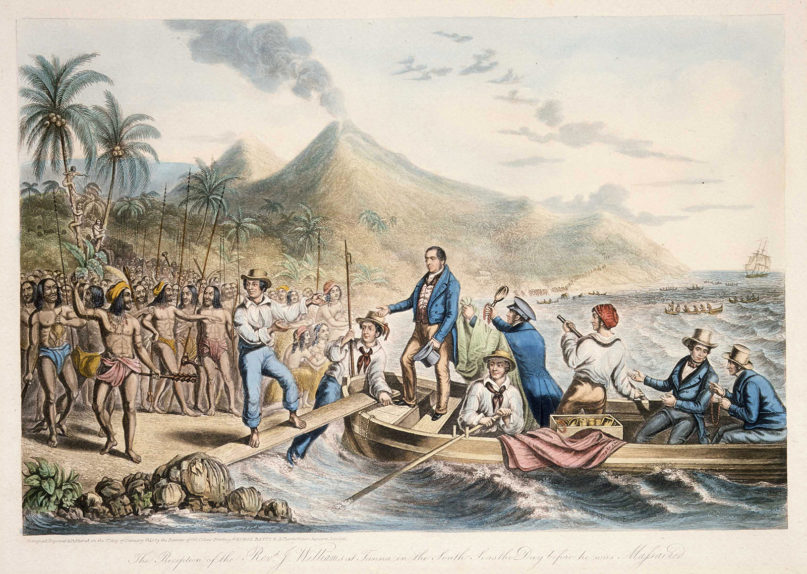 Christian missionary the Rev. John Williams, center, is stepping from a rowboat, surrounded by other Europeans, about to go ashore the palm-fringed Tanna Island. A crowd of Vanuatuans greets him in 1839. Image by George Baxter/Creative Commons