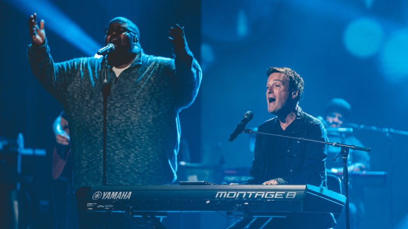 Musicians Michael W. Smith, right, and Calvin Nowell, left, lead a prerecorded worship service for the Promise Keepers 2020 virtual event. Photo courtesy of Promise Keepers