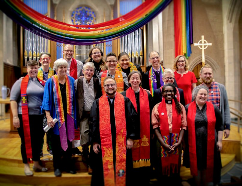 PCUSA clergy join the Rev. Alex Patchin McNeill, front center, for a group photo following McNeill's ordination at First Presbyterian Church in Asheville, North Carolina, on Oct. 11, 2019. Photo by Liz Williams