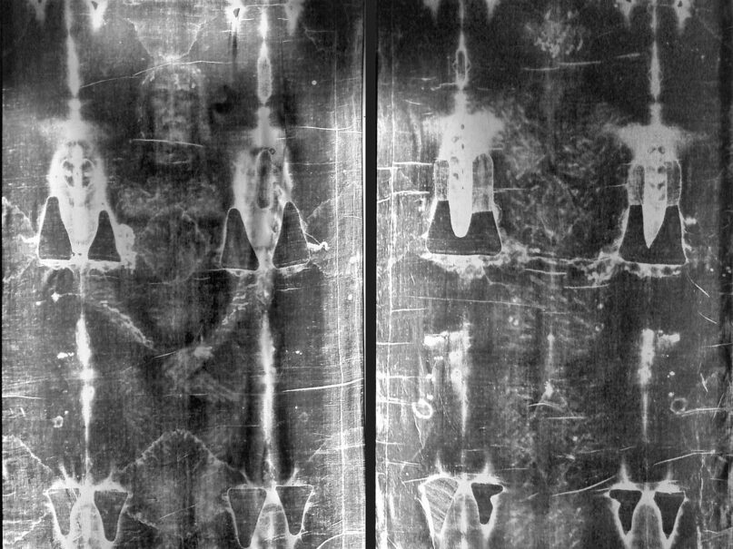 Undated full-length photographic negatives of the Shroud of Turin, taken at the Church of Saint-Sulpice in Paris. Image courtesy of Creative Commons