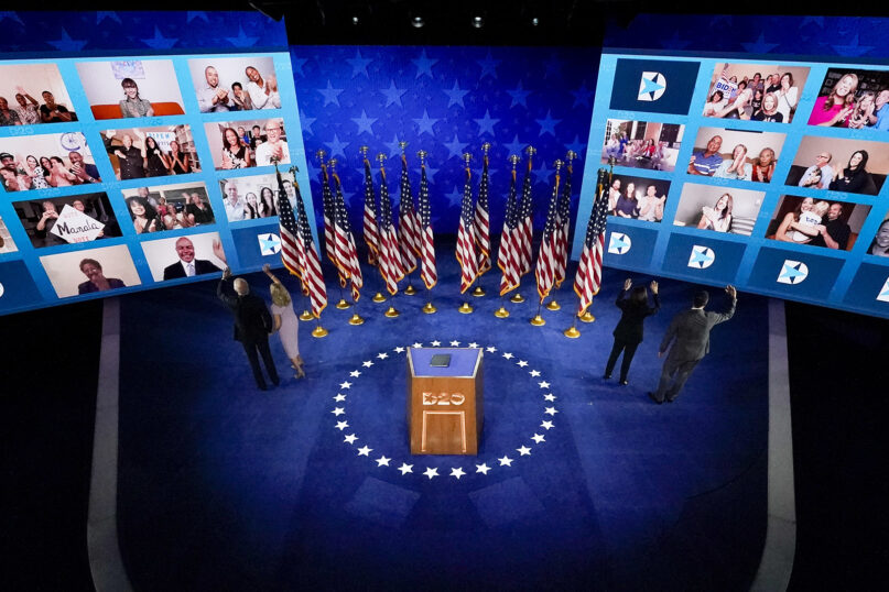 Left to right on the stage, Democratic presidential candidate former Vice President Joe Biden; his wife, Jill Biden; Democratic vice presidential candidate Sen. Kamala Harris, D-California; and her husband, Doug Emhoff, wave to supporters after Biden spoke during the fourth day of the Democratic National Convention, on Aug. 20, 2020, at the Chase Center in Wilmington, Delaware. (AP Photo/Andrew Harnik)