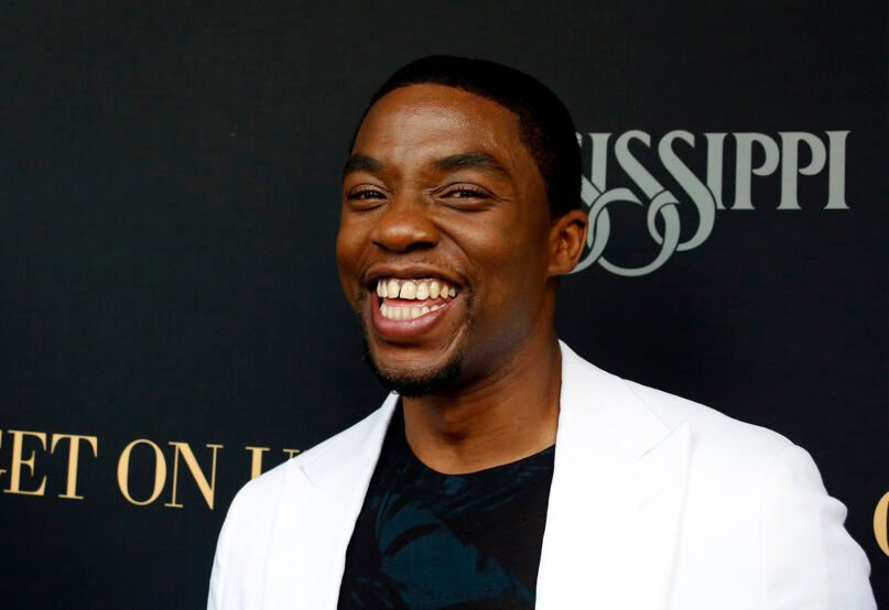 """Actor Chadwick Boseman, prior to a screening of the film """"Get on Up,"""" Sunday, July 27, 2014. (AP Photo/Rogelio V. Solis)"""