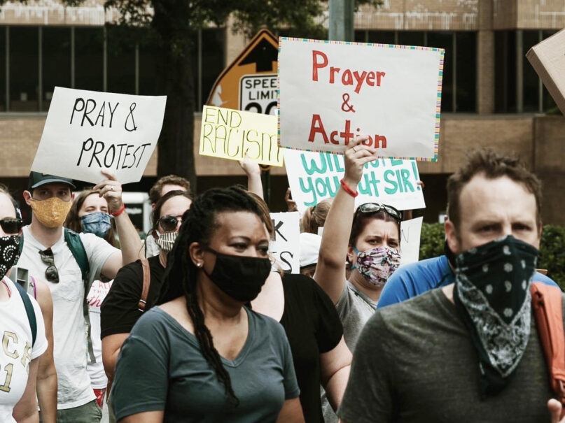People demonstrate for racial justice during a June 2020 event in Atlanta organized by OneRace, one of the Prayer & Action Justice Initiative groups. Photo courtesy of the Prayer & Action Justice Initiative