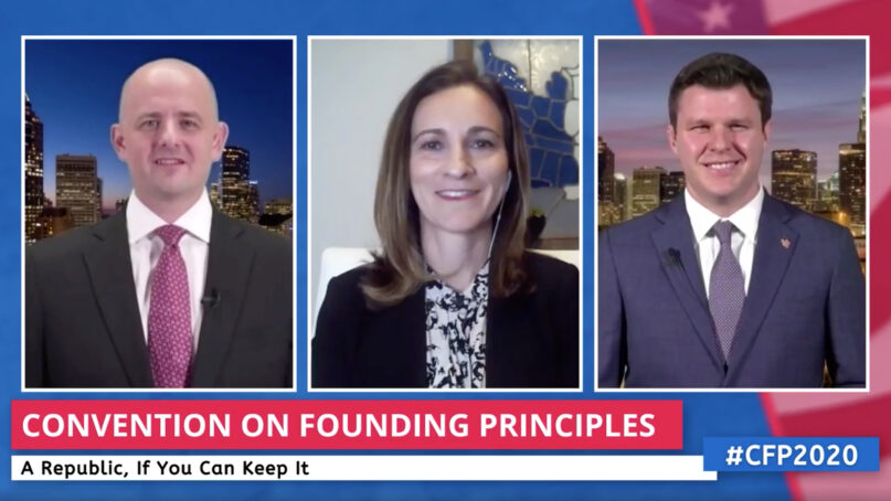 Evan McMullin, from left, Mindy Finn and Heath Mayo open the virtual Convention on Founding Principles, Monday, Aug. 24, 2020. Video screengrab