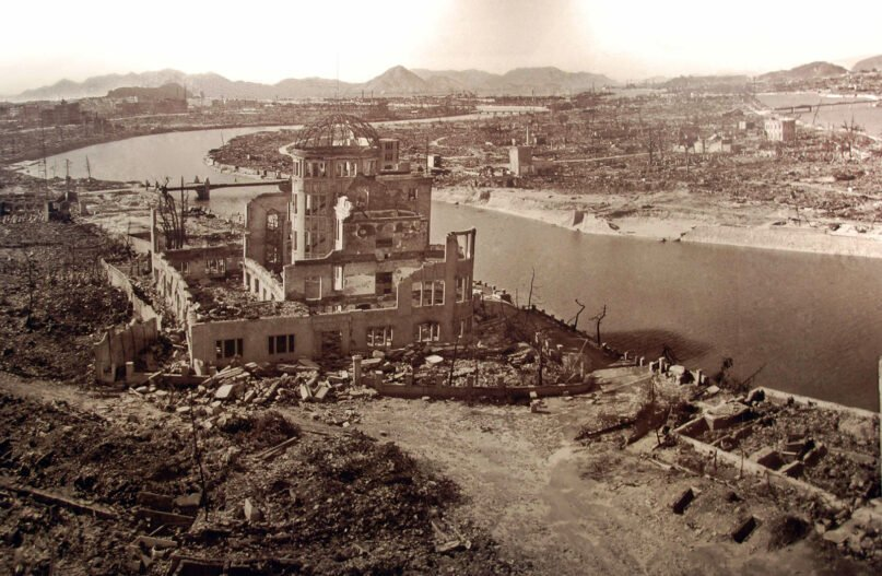 The destruction at Hiroshima, Japan, caused by the atomic bomb dropped on the city in August 1945. Photo courtesy of Creative Commons