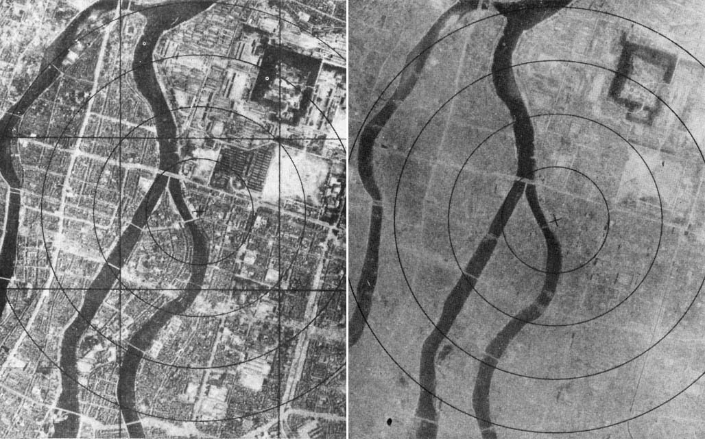Hiroshima before, left, and after the atomic bomb in August 1945. Photos courtesy of Creative Commons