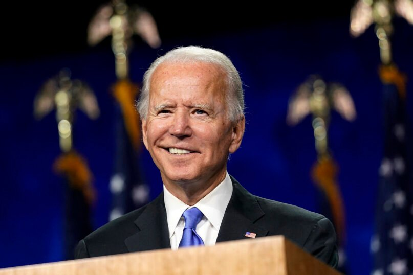 Democratic presidential candidate former Vice President Joe Biden speaks during the fourth day of the Democratic National Convention, Aug. 20, 2020, at the Chase Center in Wilmington, Delaware. (AP Photo/Andrew Harnik)