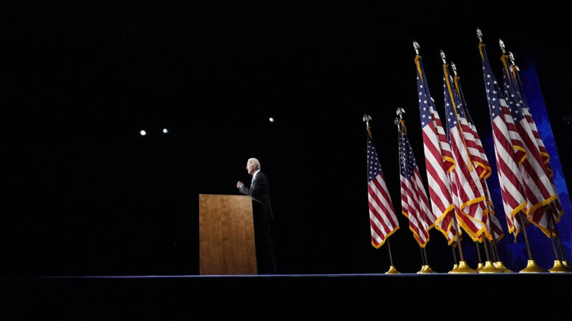 Democratic presidential candidate former Vice President Joe Biden speaks during the fourth day of the Democratic National Convention, Thursday, Aug. 20, 2020, at the Chase Center in Wilmington, Delaware. (AP Photo/Andrew Harnik)