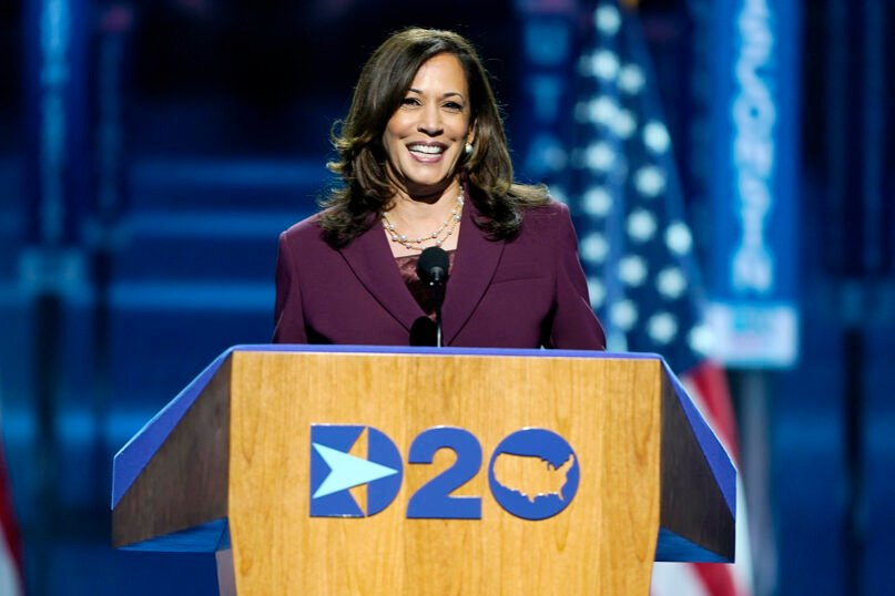 Democratic vice presidential candidate Sen. Kamala Harris, D-California, speaks during the third day of the Democratic National Convention, on Aug. 19, 2020, at the Chase Center in Wilmington, Delaware. (AP Photo/Carolyn Kaster)