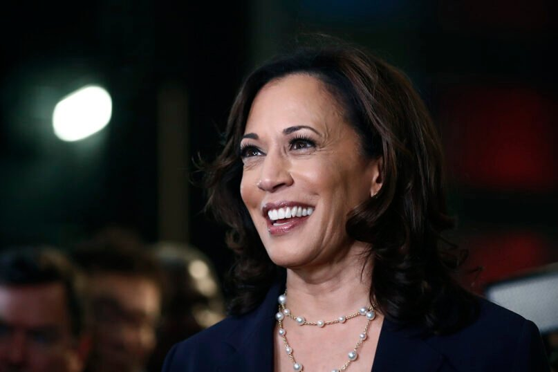 In this June 27, 2019, file photo, then-Democratic presidential candidate Sen. Kamala Harris of California listens to questions after the Democratic primary debate hosted by NBC News at the Adrienne Arsht Center for the Performing Arts in Miami. (AP Photo/Brynn Anderson, File)