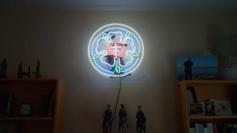 The Luther rose neon sign of ELCA Presiding Bishop Elizabeth Eaton. Video screengrab