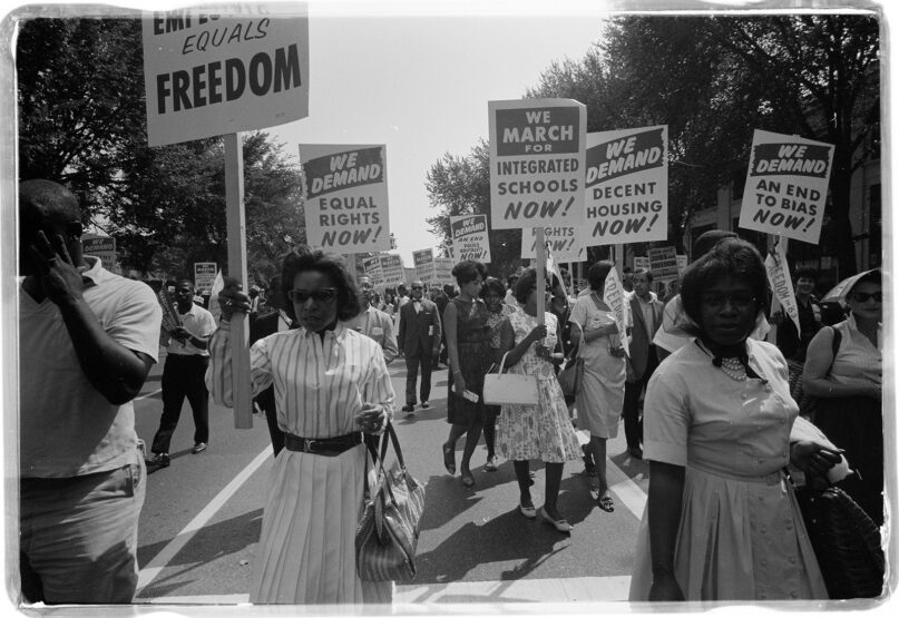 People demonstrate for racial justice on Aug. 28, 1963, in the historic March on Washington for Jobs and Freedom in Washington, D.C. Photo by Warren K. Leffler/LOC/Creative Commons