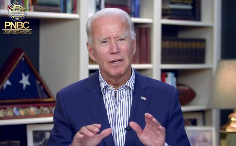 Former Vice President Joe Biden addresses a virtual gathering of the Progressive National Baptist Convention, Thursday, Aug. 6, 2020. Video screengrab