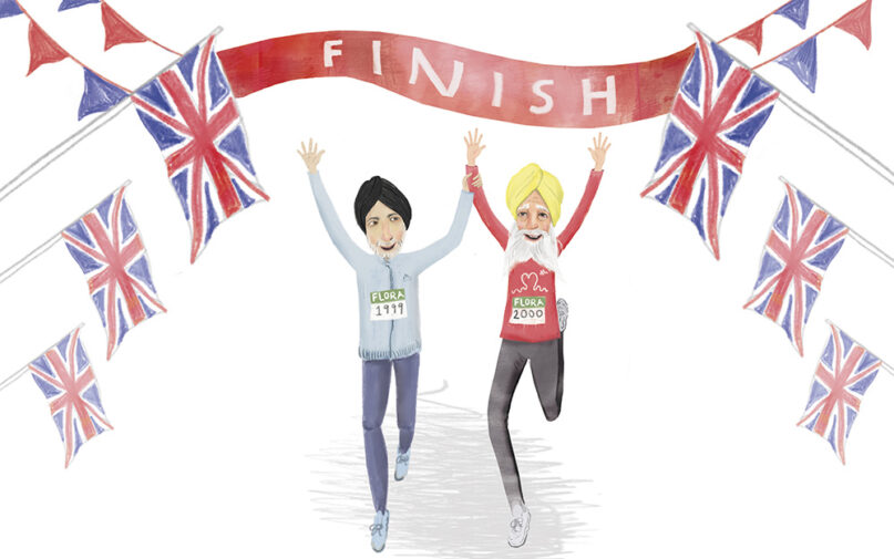 """Illustration in the book """"Fauja Singh Keeps Going: The True Story of the Oldest Person to Ever Run a Marathon."""" Image by Baljinder Kaur"""