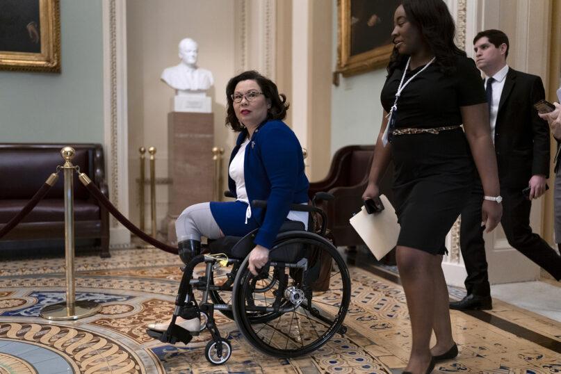 Sen. Tammy Duckworth, D-Illinois, arrives at the Capitol in Washington on Jan. 29, 2020. (AP Photo/J. Scott Applewhite)
