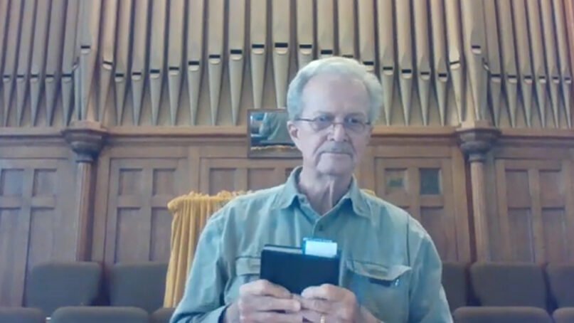 The Rev. Tom Wood, pastor of First Methodist Church of Itasca, Texas, records a sermon in April 2020. Video screengrab