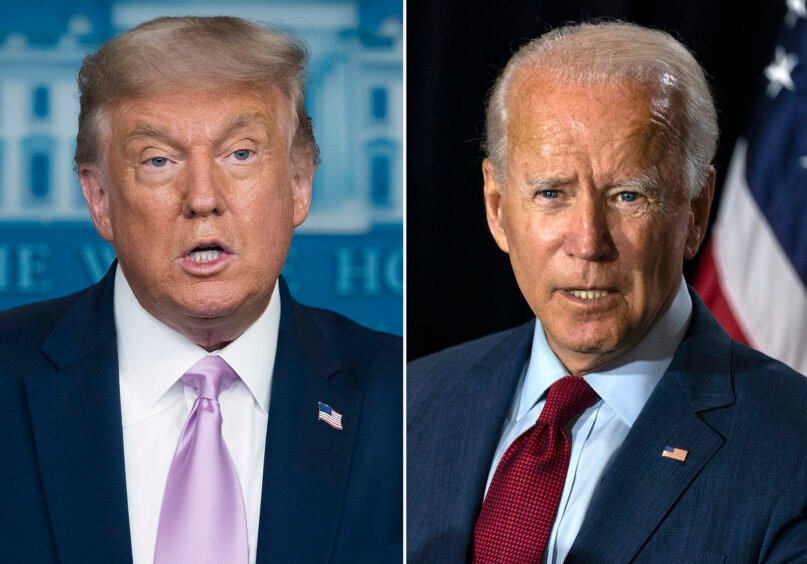 In this combination photo, President Donald Trump, left, speaks at a news conference on Aug. 11, 2020, in Washington and Democratic presidential candidate former Vice President Joe Biden speaks in Wilmington, Delaware, on Aug. 13, 2020. (AP Photo)