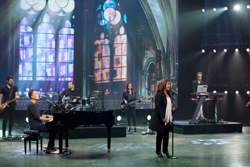 """Michael W. Smith, left, and CeCe Winans record a performance for the """"Unite to Fight Poverty"""" virtual concert. Photo by Jon Morgan"""