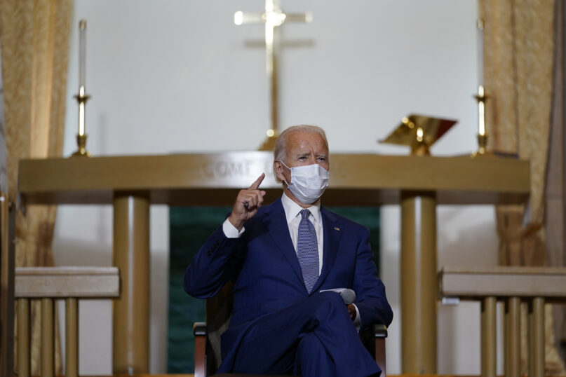 Democratic presidential candidate former Vice President Joe Biden meets with community members at Grace Lutheran Church in Kenosha, Wis., Thursday, Sept. 3, 2020. (AP Photo/Carolyn Kaster)