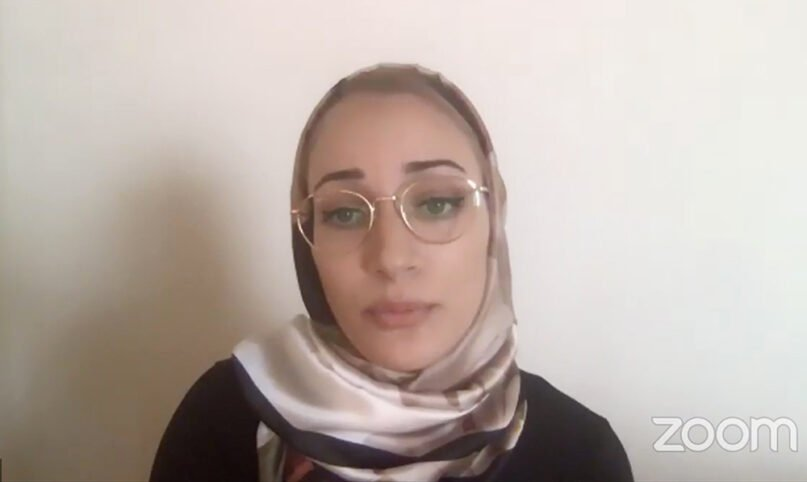 Nusaiba Mubarak details her arrest incident during a virtual news conference with the Council on American-Islamic Relations on Sept. 17, 2020, streamed on Facebook Live. Video screengrab