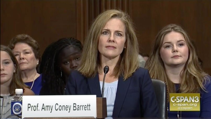 Judge Amy Coney Barrett appears at her nomination hearing to sit on the 7th Circuit Court of Appeals in September 2017. Video screengrab