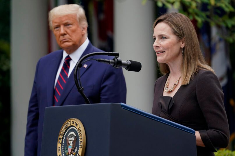 Judge Amy Coney Barrett speaks after President Donald Trump announced Barrett as his nominee to the Supreme Court, in the Rose Garden at the White House, on Sept. 26, 2020, in Washington. (AP Photo/Alex Brandon)