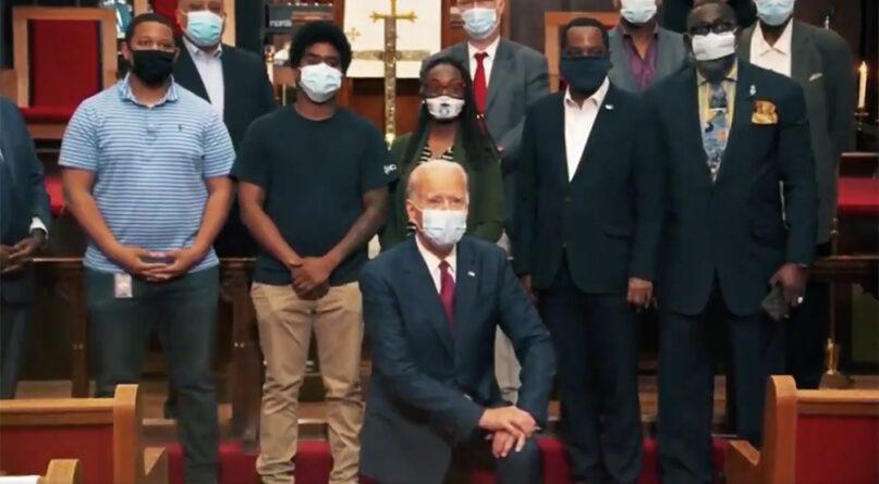 A still from a recent Trump campaign video of Joe Biden kneeling at a church. Video screengrab