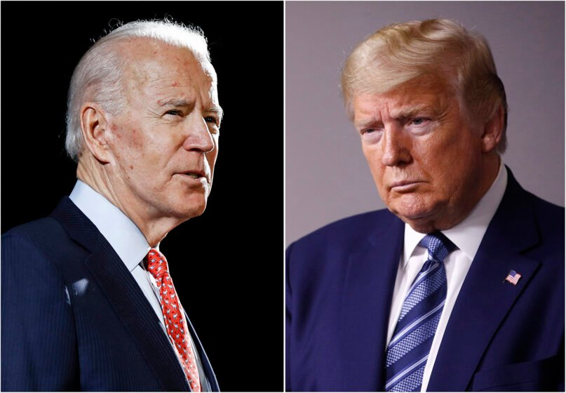 In this combination of file photos, former Vice President Joe Biden speaks in Wilmington, Delaware, on March 12, 2020, left, and President Donald Trump speaks at the White House in Washington on April 5, 2020. (AP Photo, File)