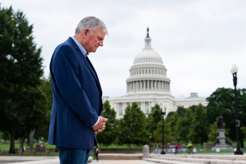 Franklin Graham will lead a mass prayer march Saturday, Sept. 26, 2020, in Washington. Photo courtesy of the Billy Graham Evangelistic Association