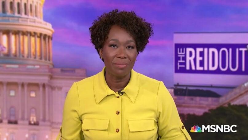 "Joy Reid hosts the MSNBC show ""The ReidOut."" Video screengrab via MSNBC"