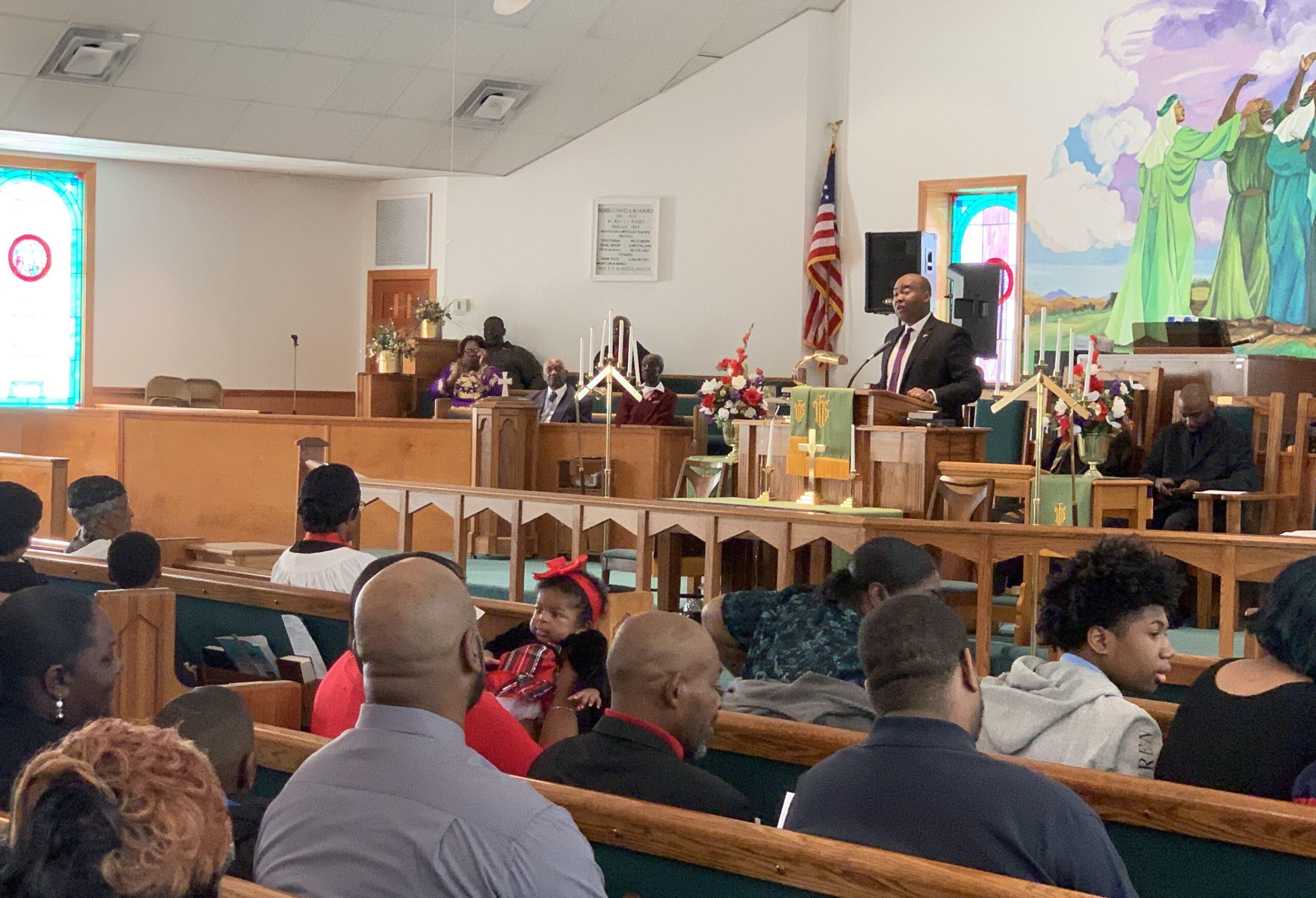 Jaime Harrison speaks at Nichols Chapel AME church in Charleston, South Carolina on February 23, 2020. RNS photo by Jack Jenkins,