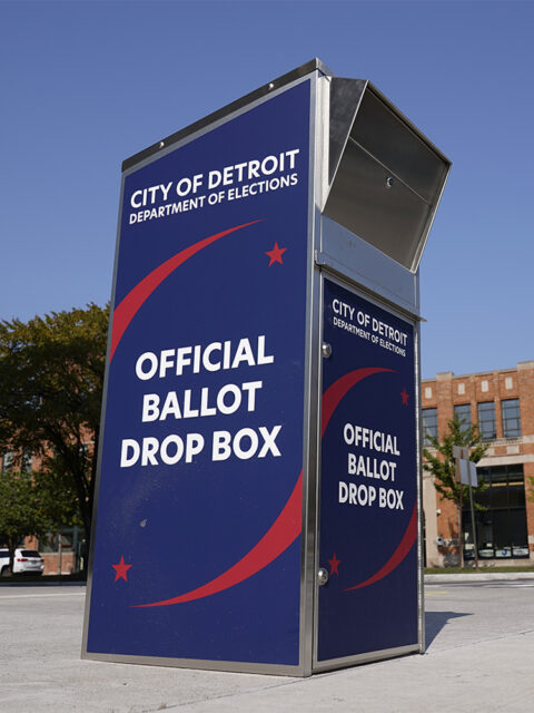 In this Thursday, Sept. 24, 2020, file photo, a ballot drop box is shown where voters can drop off ballots instead of using the mail. outside the Detroit Pistons training facility in Detroit. (AP Photo/Paul Sancya, File)