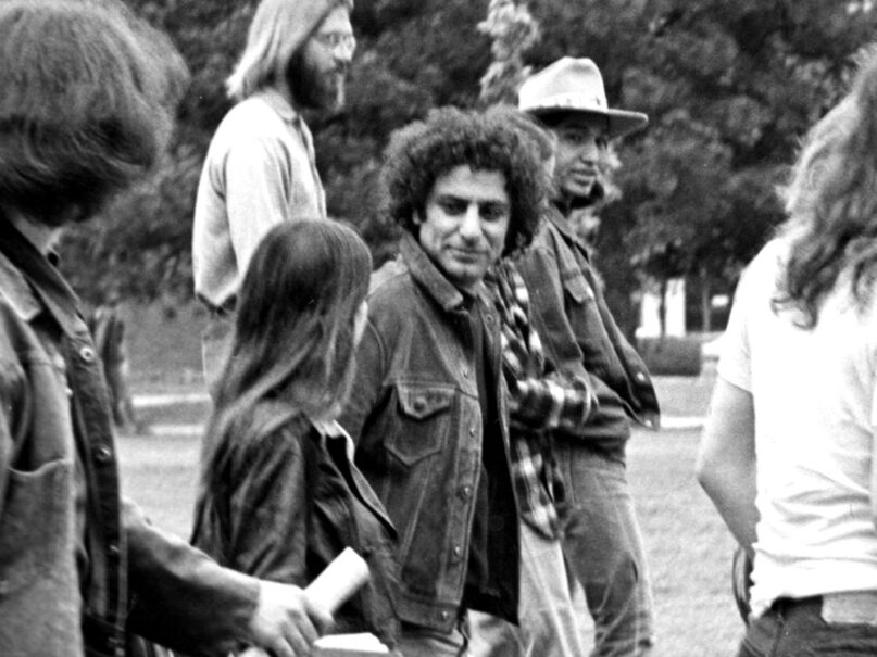 Abbie Hoffman, center, visits the University of Oklahoma to protest the Vietnam War, circa 1969. Photo by Richard O. Barry/Creative Commons