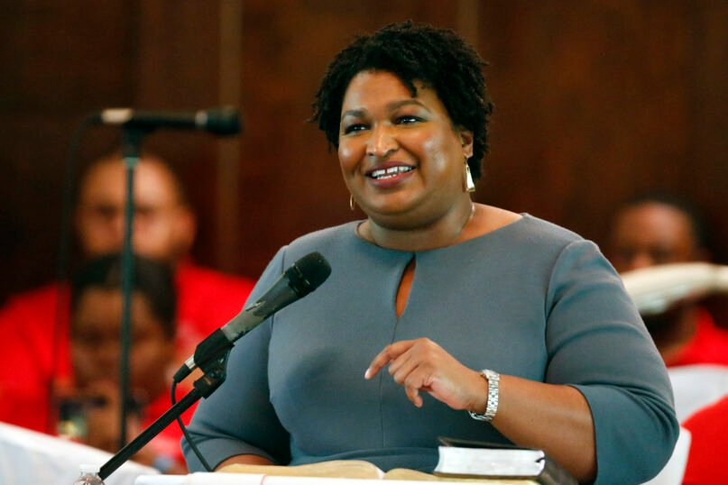 Former gubernatorial candidate and former state Rep. Stacey Abrams speaks to the congregation at Brown Chapel AME Church in Selma , Alabama, on March 1, 2020. (AP Photo/Butch Dill, File)