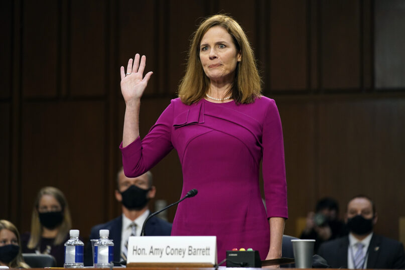 Supreme Court nominee Amy Coney Barrett is sworn in during a confirmation hearing before the Senate Judiciary Committee on Oct. 12, 2020, on Capitol Hill in Washington. (AP Photo/Patrick Semansky, Pool)