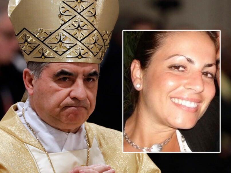 Cardinal Angelo Becciu, left, and Cecilia Marogna. (AP Photo/Gregorio Borgia, File)
