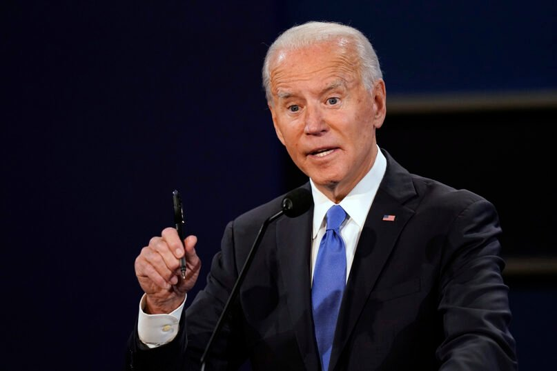 Democratic presidential candidate former Vice President Joe Biden speaks during the second and final presidential debate Thursday, Oct. 22, 2020, at Belmont University in Nashville, Tenn. (AP Photo/Patrick Semansky)