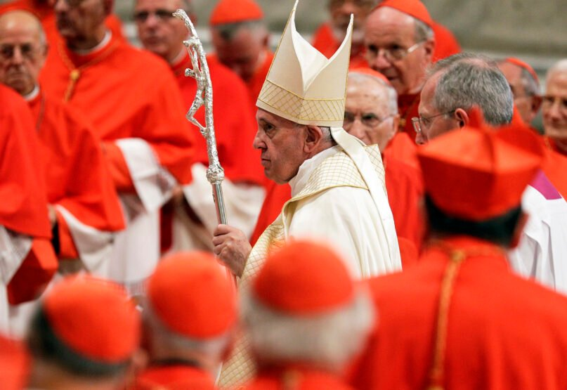 Pope Francis leaves after presiding over a consistory inside St. Peter's Basilica, at the Vatican, Saturday, Oct. 5, 2019. (AP Photo/Andrew Medichini)