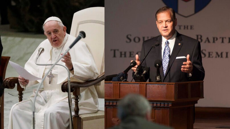 Combination photo of Pope Francis, left, and the Rev. R. Albert Mohler Jr. Photos by Gregorio Borgia and Emil Handke